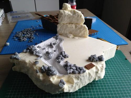 Maken van de grote rots als achterwand