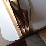 Detail van de lagen in de achterplaat gedrukt