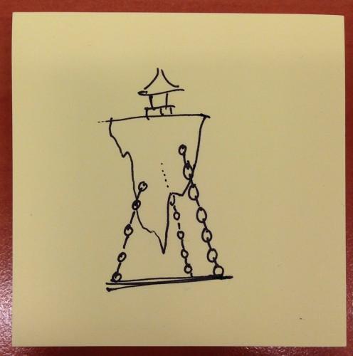 Floating Pagoda constructie verwerken door zware kettingen te lassen.